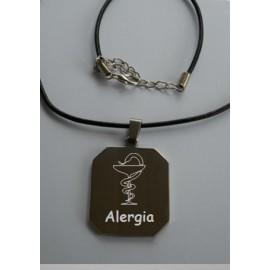 Placa médica grabada alergia de 4 x 3 cm